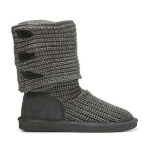 BearPaw Grey Knit Boots Tall or Ankle Size 8